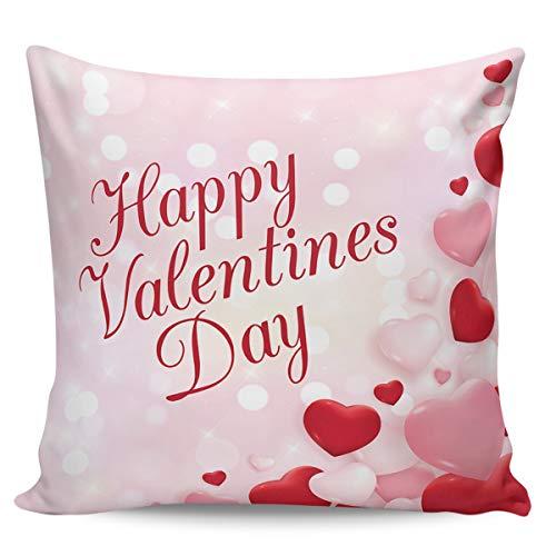 Scrummy, federa per cuscino da 61 x 61 cm, con scritta 'Happy Valentines Day', colore: rosa carino, con cuore, decorazione quadrata per la casa