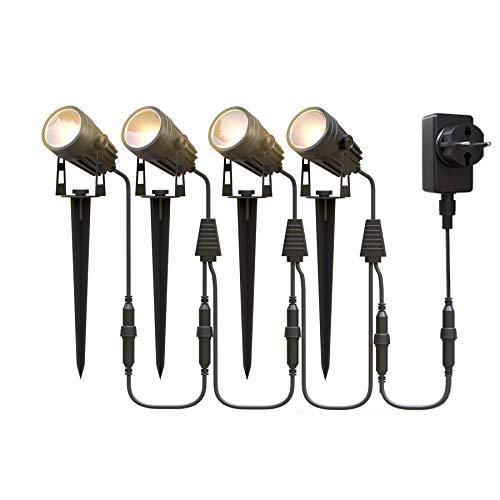 Aourow Gartenbeleuchtung LED,3W x 4 Warmweiße LED Gartenleuchte mit Metall-Erdspieß,IP65 Wasserdichter Niederspannungs-Gartenstrahler mit Stecker für Garten/Rasen/Terrasse/Gehweg/Baum,4er-Set