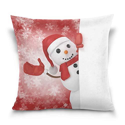 Funda de almohada decorativa para cojín cuadrado, diseño de muñeco de nieve con sombrero de Papá Noel, funda de almohada para sofá cama de copos de nieve de 22 x 22 pulgadas