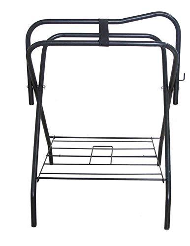 AJ Tack Wholesale Floor Saddle Rack Stand Folding Storage Metal Black