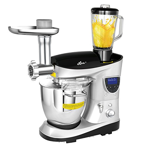 Litchi Cooking & Mixing Stand Mixer 7.4 Quart Multifunctional Kitchen Electric Mixer with Meat Grinder, Blender, Sausage Stuffer, Beaters, Silver