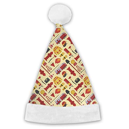 Sombrero de Pap Noel, sombreros de Navidad, camin de bomberos, patrn de bombero cmodo de felpa para Navidad, Ao Nuevo, fiestas de suministros