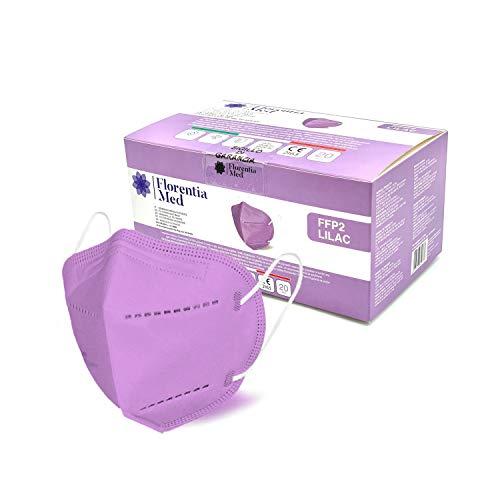 Florentia Med Lilac FFP2-Masken MADE IN ITALY CE-zertifizierte Kategorie PSA: III, gemäß EN 149: 2001 + A1: 2009. Schachtel mit 20 Stück Verpackt und versiegelt