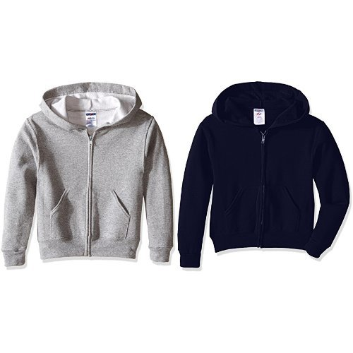 Jerzees Youth Full Zip Hooded Sweatshirt, Oxford, Medium with  JNavy, Medium