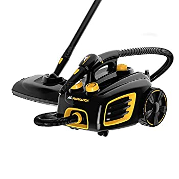 McCulloch MC1375 Canister Steam Cleaner with 20 Accessories Extra-Long Power Cord Chemical-Free Cleaning for Most Floors Counters Appliances Windows Autos and More 1- Pack  Black