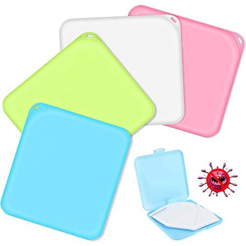 Masken Aufbewahrungstasche, 4 Stück Tragbare Maskenbox, Aufbewahrungsbox für Staubmasken, Masken Etui, ideal zur Aufbewahrung von Masken zur Vermeidung von Maskenverschmutzung