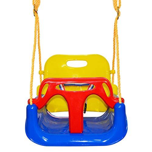 Asiento columpio para bebé 3 en 1 para bebés adolescentes con respaldo alto cubo completo cadena resistente área juegos desmontable jungla gimnasio juego colgar seguro para niños patio interior
