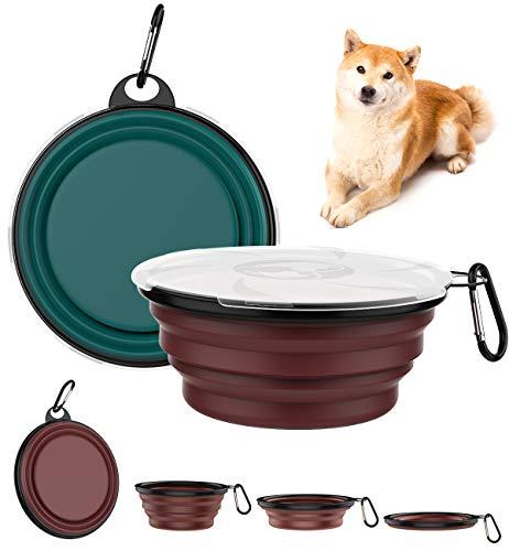 Lewondr [2 PZS Platos de Viaje para Mascota Plegable, Tazón de Viaje de Silicona Seguro con Tapa Transparente y Anillo de Escalada Fuerte para Perros y Gatos, 1000 ml - Cian Oscuro + Rojo