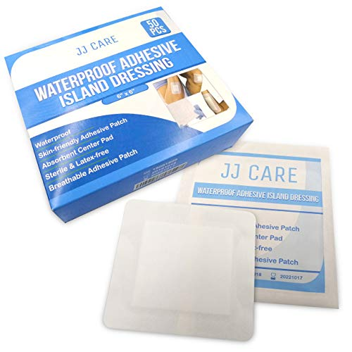 JJ CARE Waterproof Adhesive Island Dressing (6x6 inches) Sterile Wound Dressing (Pack of 50) Adhesive Bandages, Breathable Bordered Gauze Pads, Latex Free, Individually Wrapped, Composite Dressing