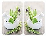 WENKO Placas cobertoras de vidrio universales Jardín de Hierbas - juego de 2 piezas para todos los...