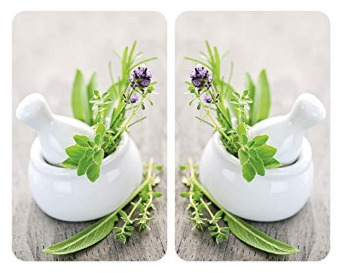 WENKO Protection plaque de cuisson, «Herbes», plaque de protection induction, gazinière, vitrocéramique, verre trempé, Lot de 2, 30x52 cm
