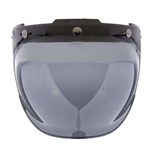 #N/a Casco Vintage de Motocicleta de 3 Broches Visera de Burbuja Lente de Protección Facial Abierta Abatible - #7
