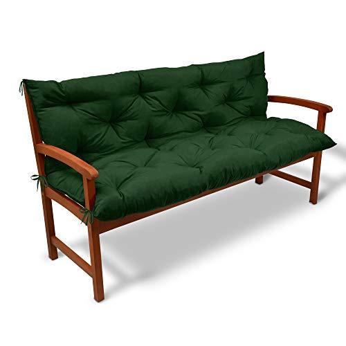 Beautissu Cojín de Banco Flair BR - Colchón con Respaldo para Bancos de jardín, terraza o balcón - 150x50x50 cm - Verde Oscuro