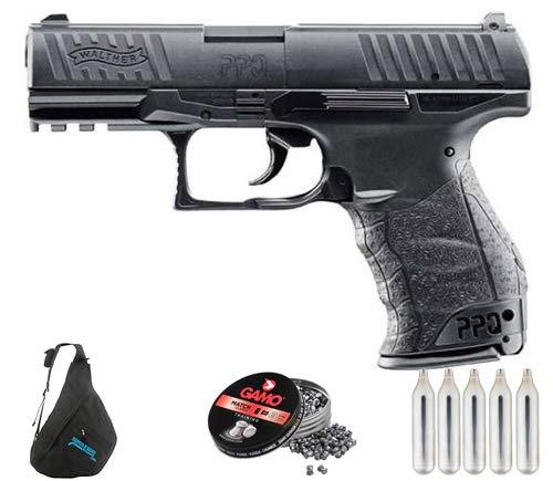 Umarex Walther PPQ CO2 | Pack Pistola de balines (perdigones). Arma de Aire comprimido CO2 Calibre 4,5mm <3,5J
