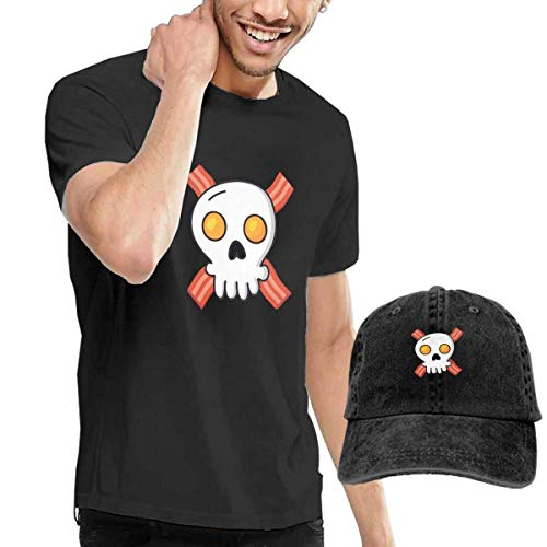 Preisvergleich Produktbild LYZBB Herren Kurzarmshirt Eggs Bacon Skull Mens Round Neck Short Sleeve T Shirt and Cowboy Hat Black