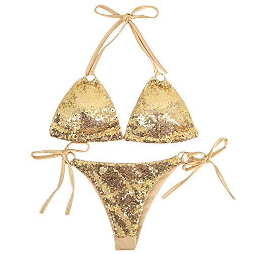 Pingrog Damen Hot Glitzer Bikini Set Bademode Bikinioberteile Badeanzug Bikinihose Stilvolle Unikat Neckholder Design Mit Pailetten S M L Gold Silber Rot Blau (Color : Gold, One Size : S)