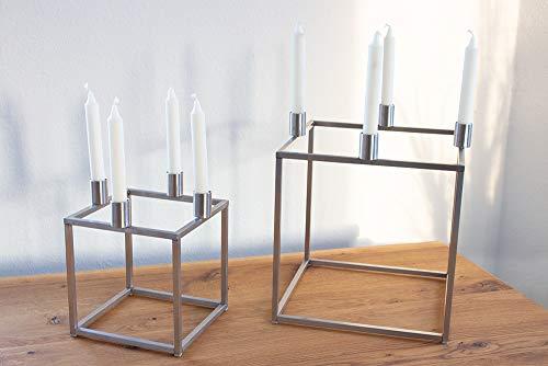 KTC Tec Kerzenständer Würfel Edelstahl 150x150mm Nordisch Design Quader Skandinavisch Weihnachten Dekoration Adventskranz 1 STK