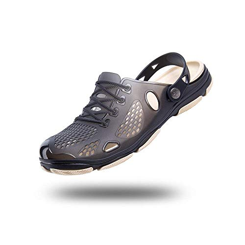BYASW Hombres Zuecos Zapatillas de Playa Respirable Malla Ahueca hacia Fuera Las Sandalias Zapatos Vernano, Verano de Doble Uso Agujero Zapatos,Negro,41