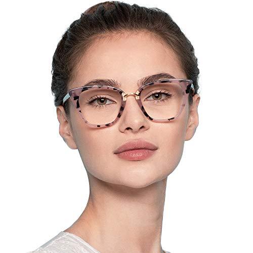 Firmoo Women Blue Light Blocking, Cat Eye Computer Glasses, Anti Glare Anti Eyestrain Acetate Full Frame Blue Light Blocker Eyewear (Pink,Pattern)