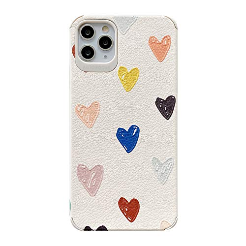NDJqer 3D Relief Colorful Love Heart Phone Case for iPhone 11 11 Pro Max X XS XR 7 8Plus Back Cover Cases-Multi-for iPhone XR