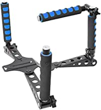 Ivation Pro Steady DSLR Rig System with Shoulder Mount For Video Stabilization For DV Cameras/Camcorders - Compact & Travel Size, Blue
