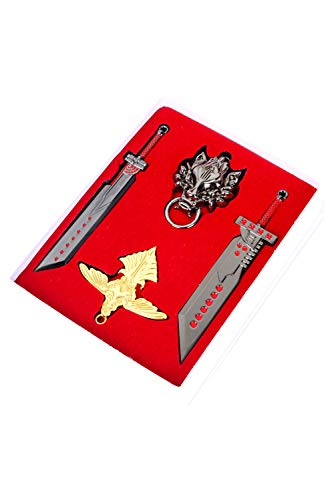 Tollstore Final Fantasy VII FF7 Cosplay Cloud Strife Schlüsselanhänger Kette 4 Stück Set