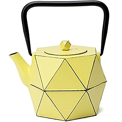 Cast Iron Teapot, TOPTIER Japanese Cast Iron Teapot with Infuser for Loose Leaf and Tea Bags, Stovetop Safe Cast Iron Tea Kettle Coated with Enameled Interior for 30 oz (900 ml), Yellow