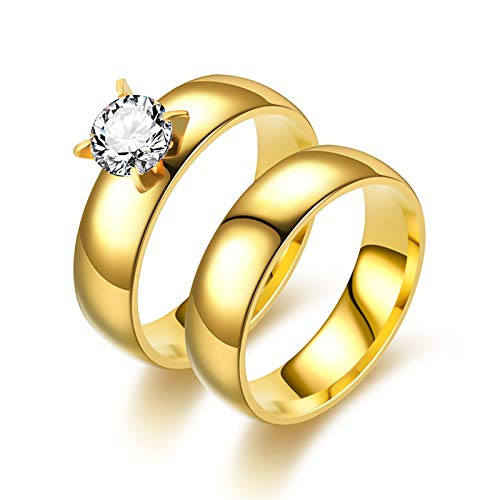 LONG-D Couple Ring Female Zircon Ring Engagement Ring Stainless Steel Ring,B,11 = 21mm