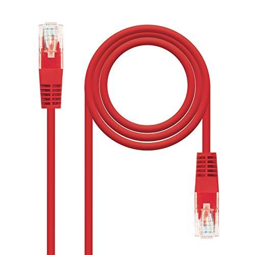NANOCABLE 10.20.0201 - Cable de Red Ethernet Cruzado RJ45 Cat.5e UTP AWG24, Rojo, latiguillo de 1mts