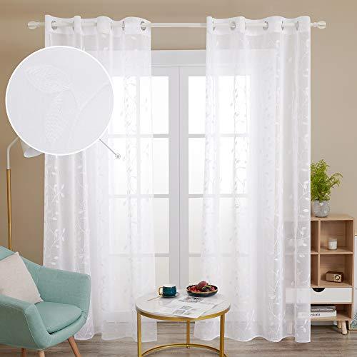 Deconovo Gardinen Schals Vorhang Weiß Transparent Gardinen Wohnzimmer Modern Stores Deko Schlafzimmer 245x140 cm Weiß Blatt 2er Set