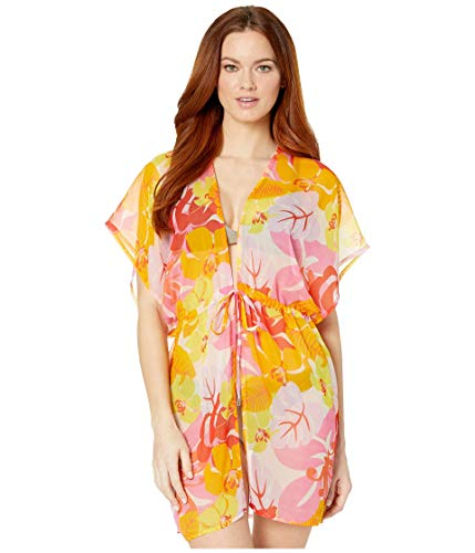 Echo Design Cutout Floral Kimono Cover-Up Pink Hibiscus One Size