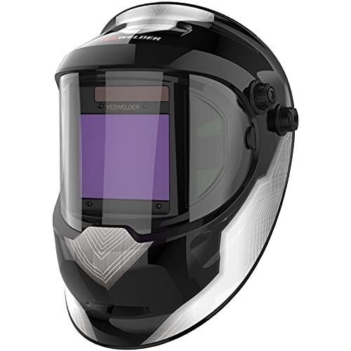 YESWELDER Large Viewing True Color Solar Powered Auto Darkening Silver Welding Helmet with SIDE VIEW, 4 Arc Sensor Wide Shade 4/5-9/9-13 Welder Mask for TIG MIG ARC Grinding Plasma LYG-Q800D-A