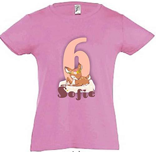wolga-kreativ T-Shirt Geburtstag Mädchen ich Bin Schon 1 2 3 4 5 6 7 8 9 Jahre mit Namen REH Geburtstagsshirt personalisiert Kindergeburtstag Geschenk Kinder