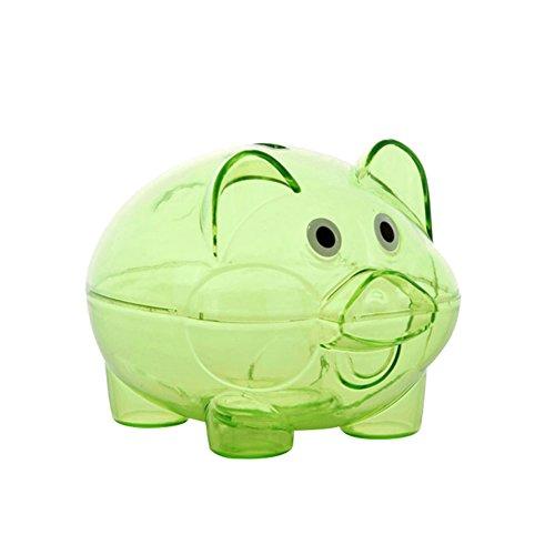 Schönes durchsichtiges Kunststoff-Sparschweinchen für Münzen und Bargeld, zum Öffnen, Geschenk für Kinder, plastik, grün, Einheitsgröße