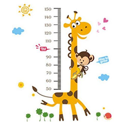 Pinzhi – Toise murale adhésive avec jolis motifs girafe et singe amovible imperméable Pour chambre d'enfant