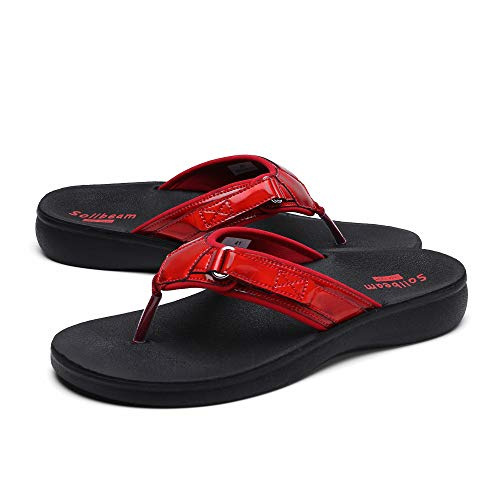 SOLLBEAM Womens Original Orthotic Comfort Thong Style Flip Flops Sandals With Arch Support Heel Cup
