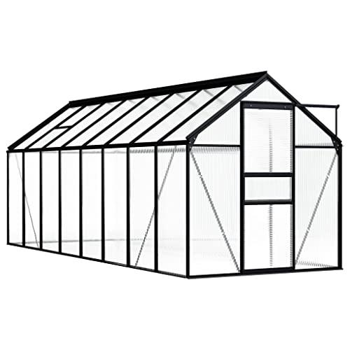 vidaXL Gewächshaus UV-beständig Wärmeisolierend Treibhaus Tomatenhaus Frühbeet Garten Pflanzenhaus Gartenhaus Anthrazit Aluminium 1,33m²