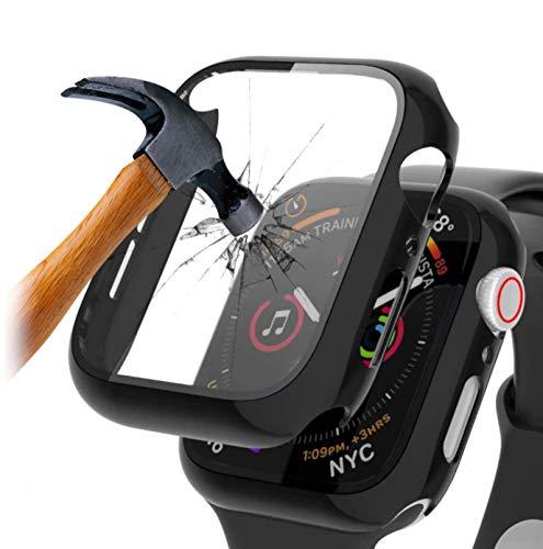qualiquipment Funda con protector de pantalla integrado para Apple Watch 44 mm/40 mm, Series 6, 5, 4 y SE Bumper Case & Display Cristal (44 mm), color negro