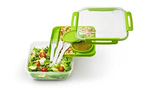 Rotho Memory B3 Lunchbox mit Besteck, Kunststoff (BPA-frei), grün/transparent, 1,7 Liter (19,5 x 19,5 x 9,1 cm)