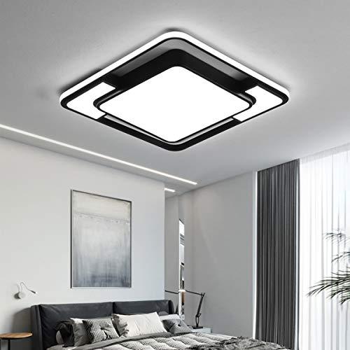 Style home LED Deckenleuchte Deckenlampe 45W, voll dimmbar mit Fernbedienung, Leuchte für Wohnzimmer, Schlafzimmer Esszimmer Küche Büro, Rechteckig 42 * 42 * 6 cm (Schwarz)