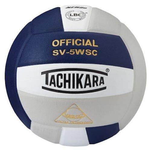 Tachikara Leather Indoor Volleyball, Navy Silver
