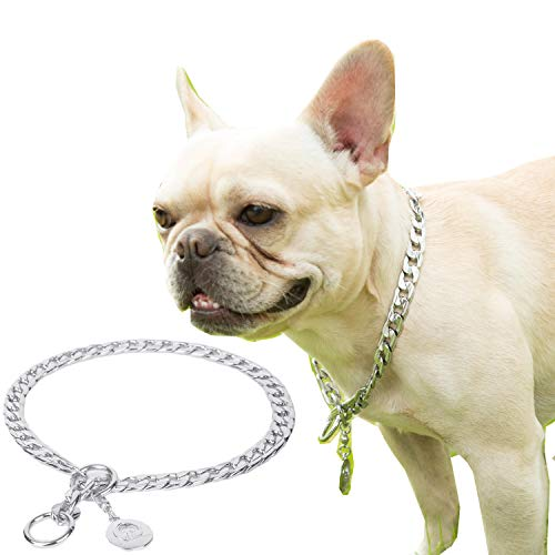 JYHY Collar de cadena de metal para perros de acero inoxidable P Chock para perros pequeños, medianos y grandes, S-70 cm