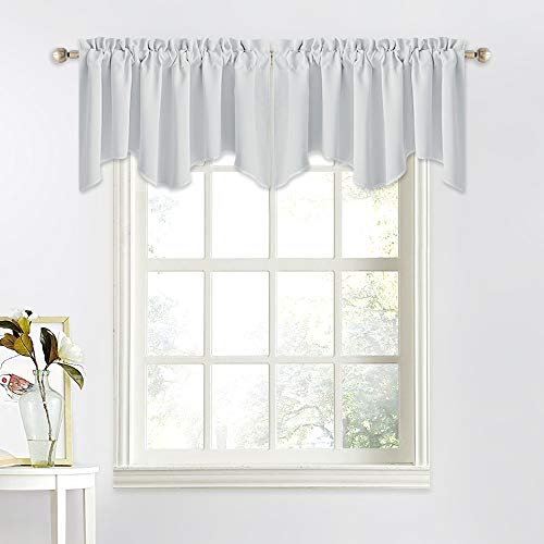NICETOWN Window Topper Valances Curtains - 52 inches x 18 inches Rod Pocket Durable Valance Curtains for Tiny Bathroom Window/Bay Window/Kitchen/Bedroom (Light Grey=Greyish White, Set of 2)
