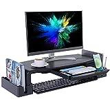 Monitorständer Höhenverstellbar mit Schublade für Schreibtisch, COKWEL Bildschirmständer mit Aufbewahrungsbox, Schreibtischaufsatz Erhöhung für Monitor Bildschirm, PC, Laptop- Schwarz