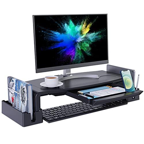 COKWEL Soporte de Monitor con Alturas Ajustables Monitor Elevador Mesa con Organizador para Almacenamiento, para Monitor de PC Ordenador portátil-Negro-3-IN-1 Multi USB Kabel as Giveaway