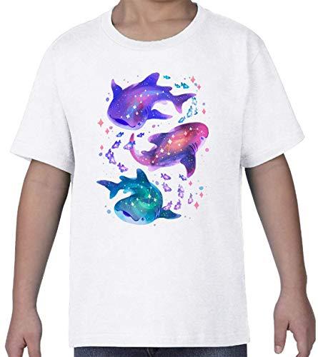 Casmic Whale Shark Astral Star Constilations Blanc Kids Crew Neck T-Shirt XL