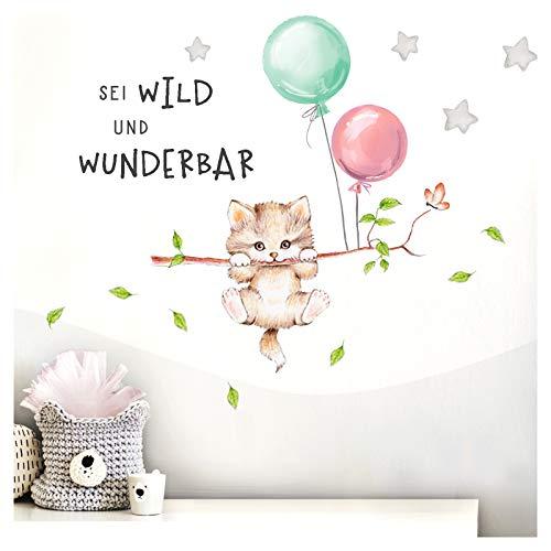 Little Deco Wandbilder Spruch sei wild & Katze I Wandbild M - 102 x 53 cm (BxH) I Luftballons Wandtattoo Aufkleber Kinderzimmer Mädchen Tiere Deko Babyzimmer Kinder DL318