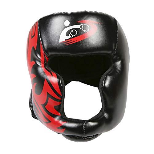 LiféUP Casco De Boxeo Protección Profesional Para Cabeza Talla Única Color Rojo Negro Sanda Taekwondo Casco Completa Protección de Cara Boxeo Cabeza Guardia de Artes Marciales