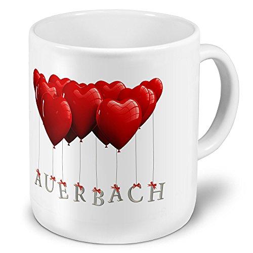 XXL Jumbo-Städtetasse Auerbach - XXL Jumbotasse mit Design Herzballons - Städte-Tasse, Städte-Krug, Becher, Mug