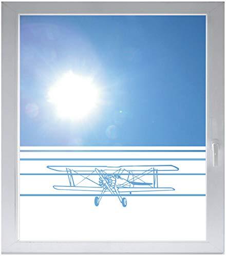 INDIGOS UG Sichtschutzfolie Glasdekorfolie Fensterfolie mit Motiv satiniert Blickdicht - w372 Doppeldecker Flugzeug Flieger - 1000 mm Länge - 500 mm Höhe Streifen